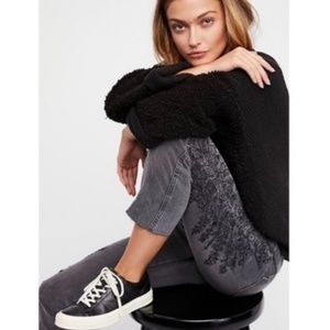 Free People High Rise Embroidered Girlfriend Jeans